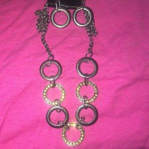 Sparkle On Metal necklace and Earring Set